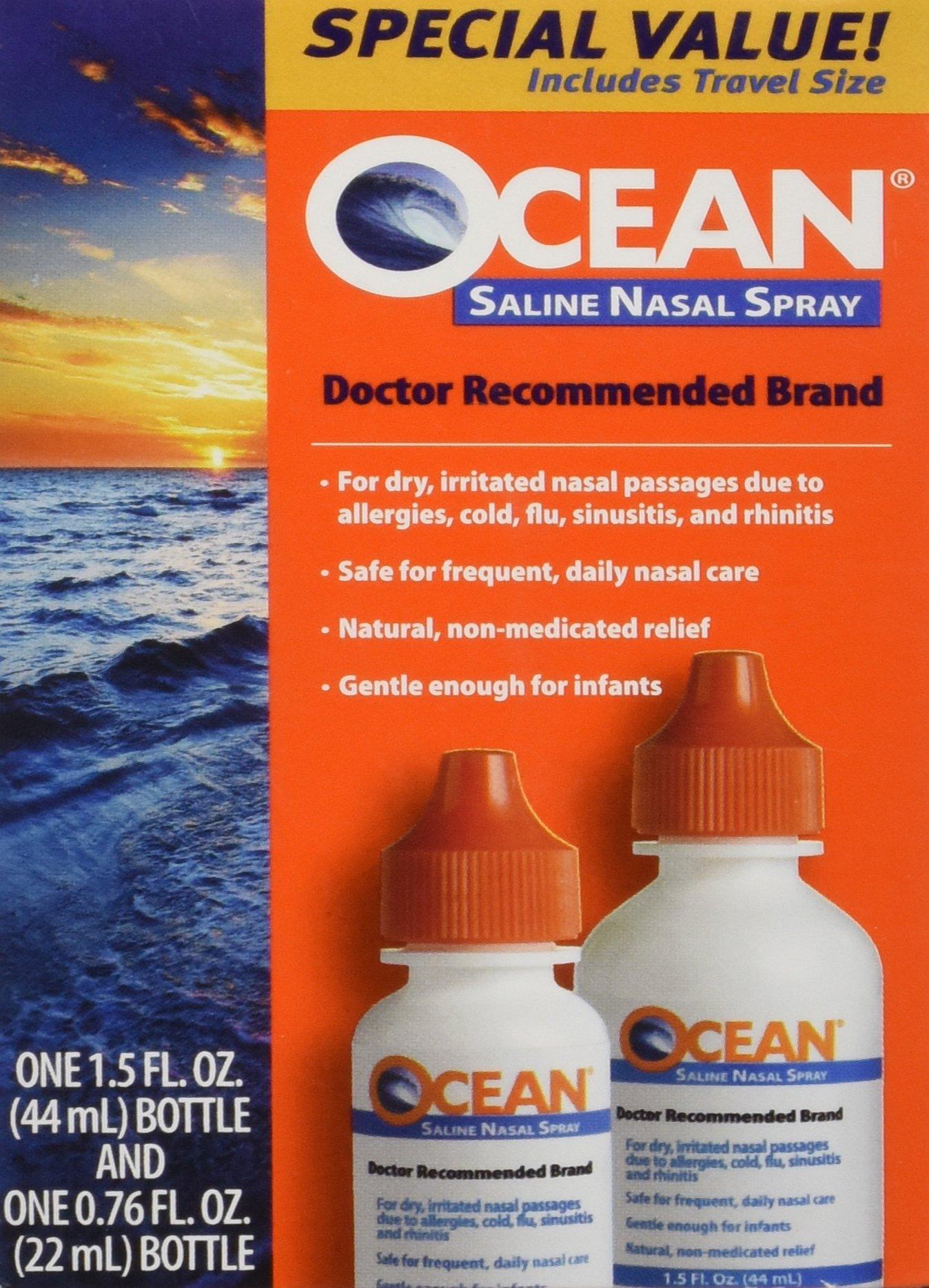 Ocean Saline Nasal Spray Buddy Pack 1.5oz and 0.76oz Bottles