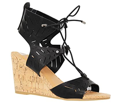fe9ce7aedd MVE Shoes Women's Casual Peep Toe Mid Heel Wedges - Cute Open Ankle Lace up  Sandals