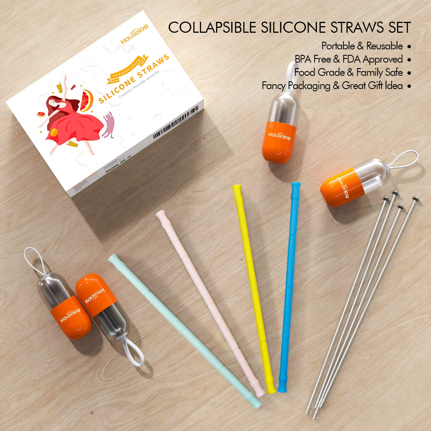 Reusable Silicone Collapsible Straws Food-Grade Drinking Straws 9.84 Inch