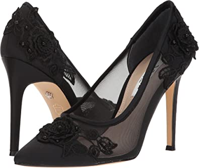 Nina Women's Donela Black Luster Satin/Rose Applique/Mesh 5.5 ...
