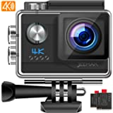 JEEMAK 4K 20MP Sports Action Camera 40M Underwater Waterproof Camera with EIS Adjustable View Angle,2 Batteries…