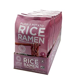 Lotus Foods Gourmet Purple Potato & Brown Rice Ramen With Vegetable Soup, Gluten-Free, 2.8 Oz (Pack Of 10)