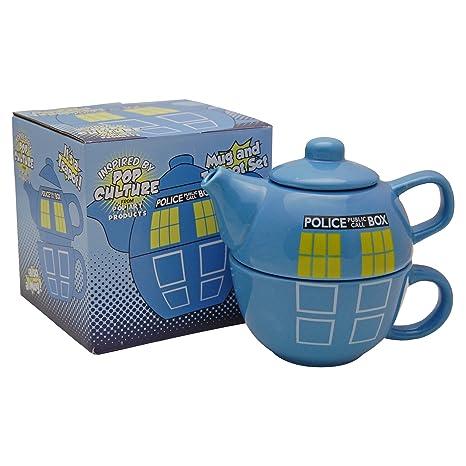 Police Box - Juego de tetera y taza - Doctor Dr Who Tardis ...
