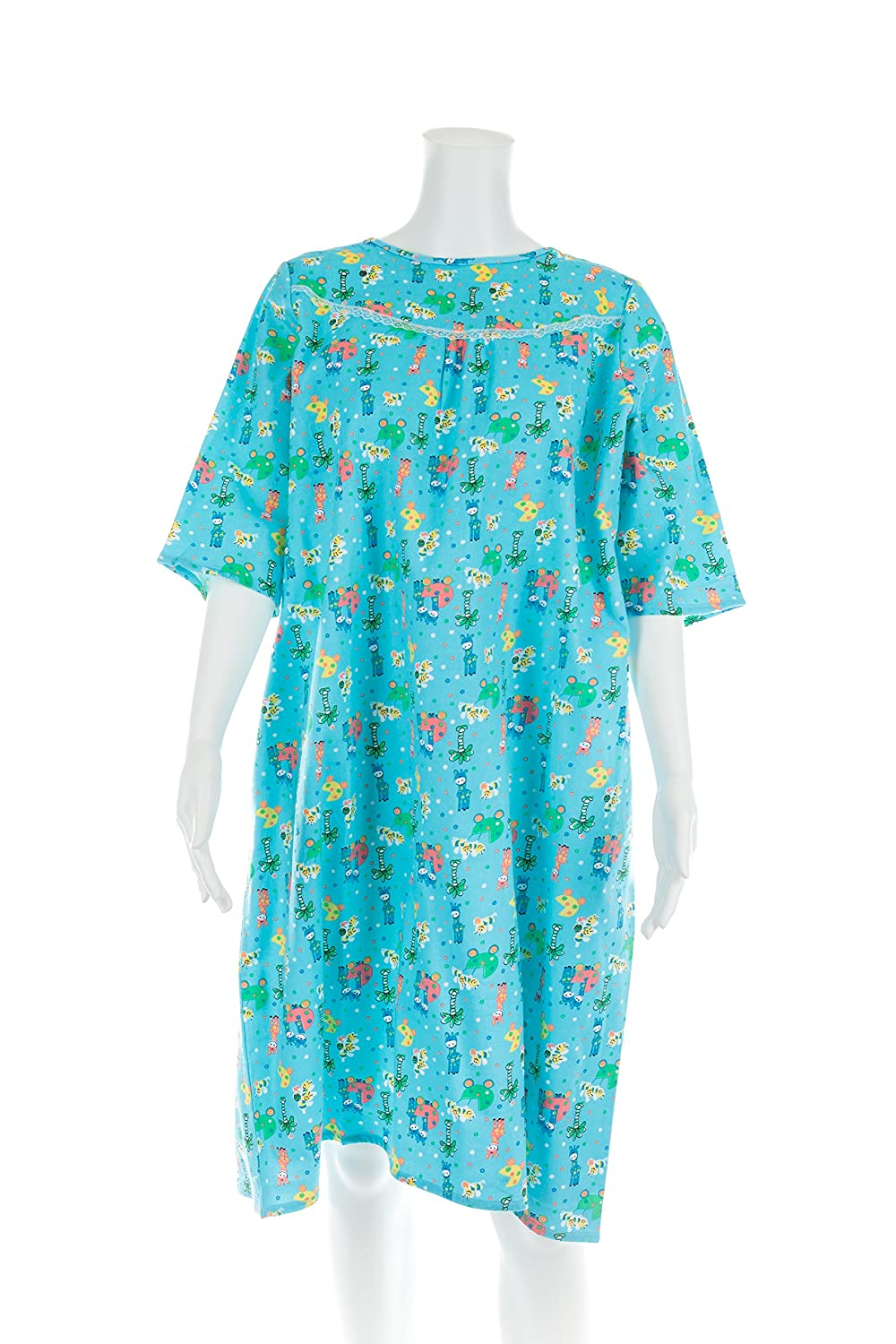 Women's Adaptive Flannel Backwrap Gown - Fun Prints with Blue Background