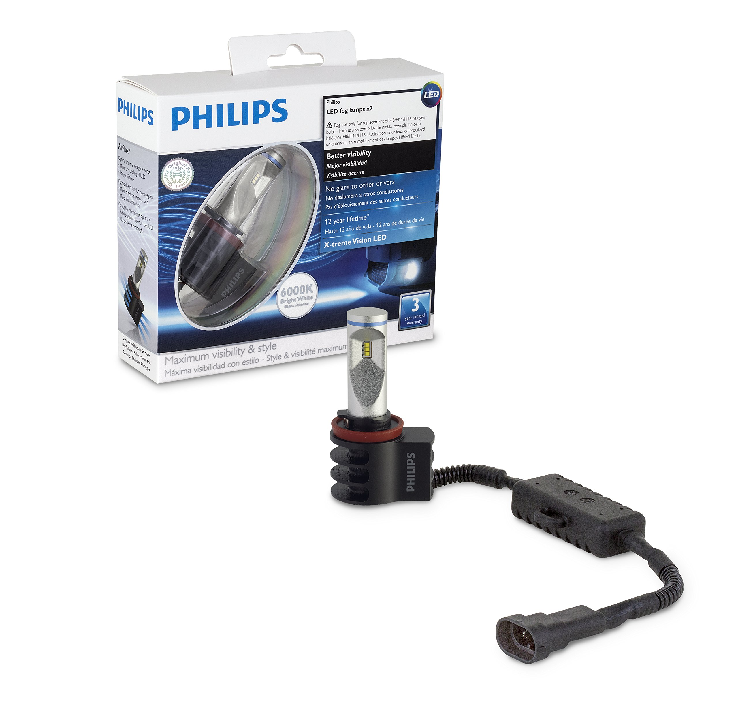 Philips  12834UNIX2  X-tremeVision LED Fog Light, Fits Fog H8, H11, H16, 2 Pack by Philips (Image #2)