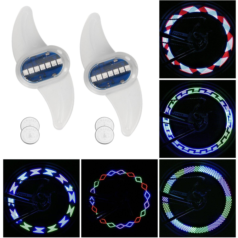 Tagvo Bike Spoke Light, 2 Pack 7 LED Luz de la rueda de bicicleta Luz de cola trasera Luz de señalización de seguridad en bicicleta - Luz de destello ...
