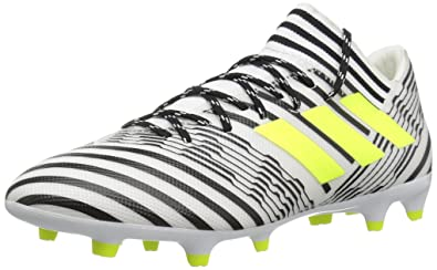 e3b771e1960e adidas Men s Nemeziz 17.3 Firm Ground Cleats Soccer Shoe White Solar  Yellow Black (