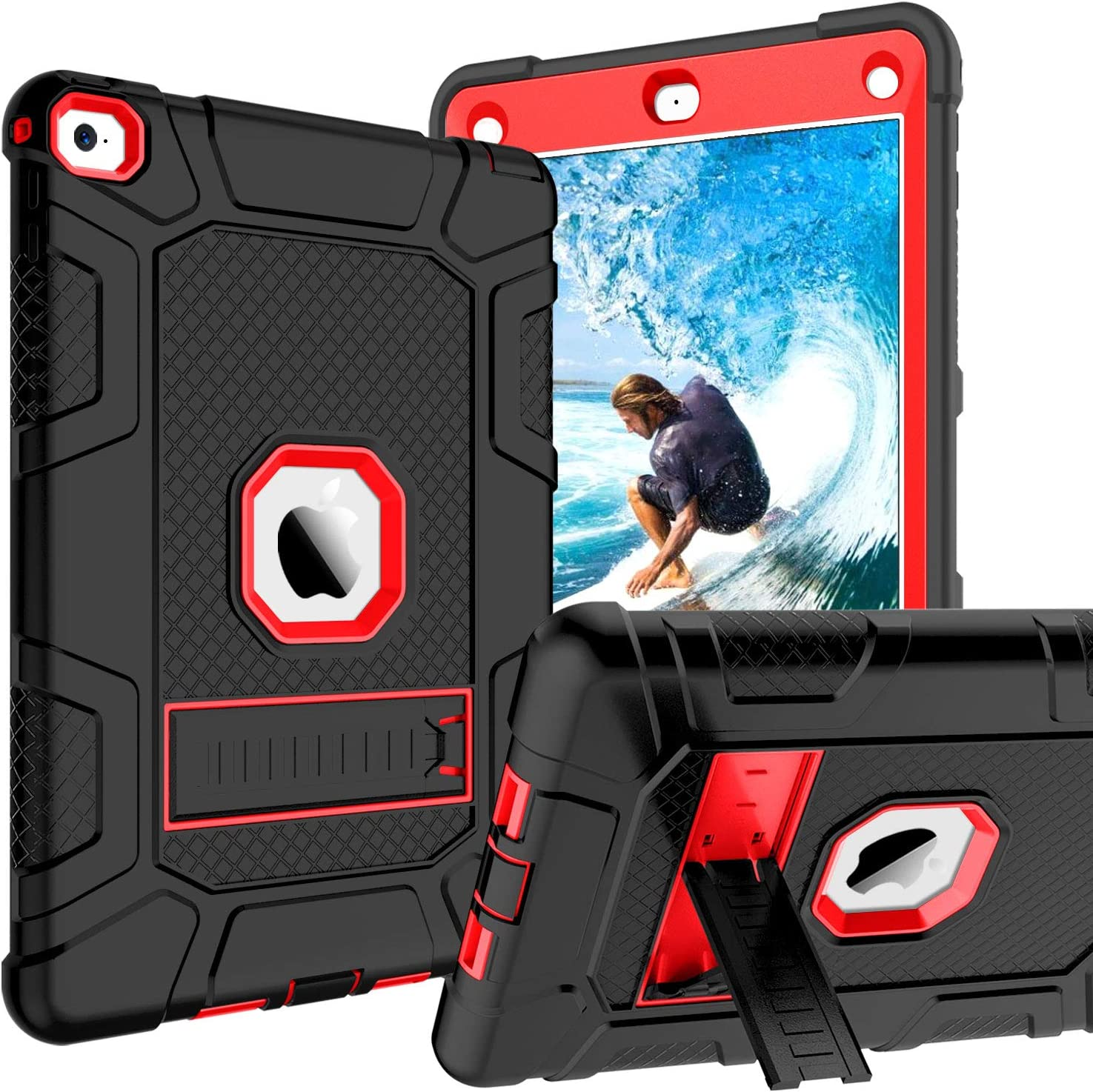 GUAGUA iPad Air 2 Cases Kickstand 3 in 1 High Impact Rugged Heavy Duty Full-Body Shockproof Drop Protection Shock Resistant Cover Durable Tablet Case for iPad Air 2 A1566 A1567 Black/Red