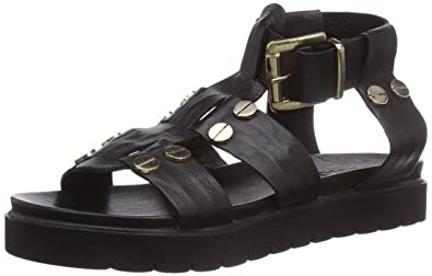 d3e0bb98a42 Inuovo Womens B52 Ankle Strap Sandals Black Schwarz (BLACK LEATHER) Size   3.5
