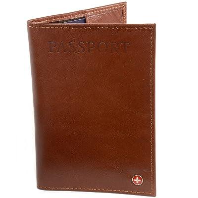 Alpine Swiss RFID Blocking Leather Passport Cover Safe ID Protection Travel Case