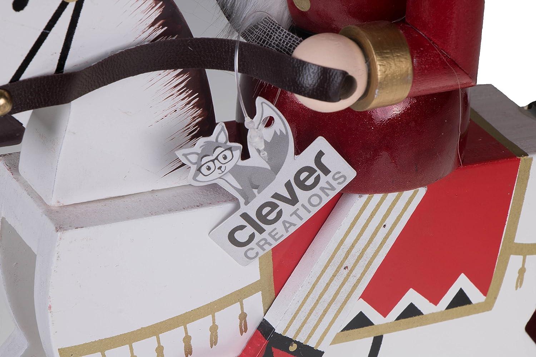100/% Madera Clever Creations Cascanueces de Navidad Coleccionable Soldado sobre Caballo balanc/ín Rojo y Dorado