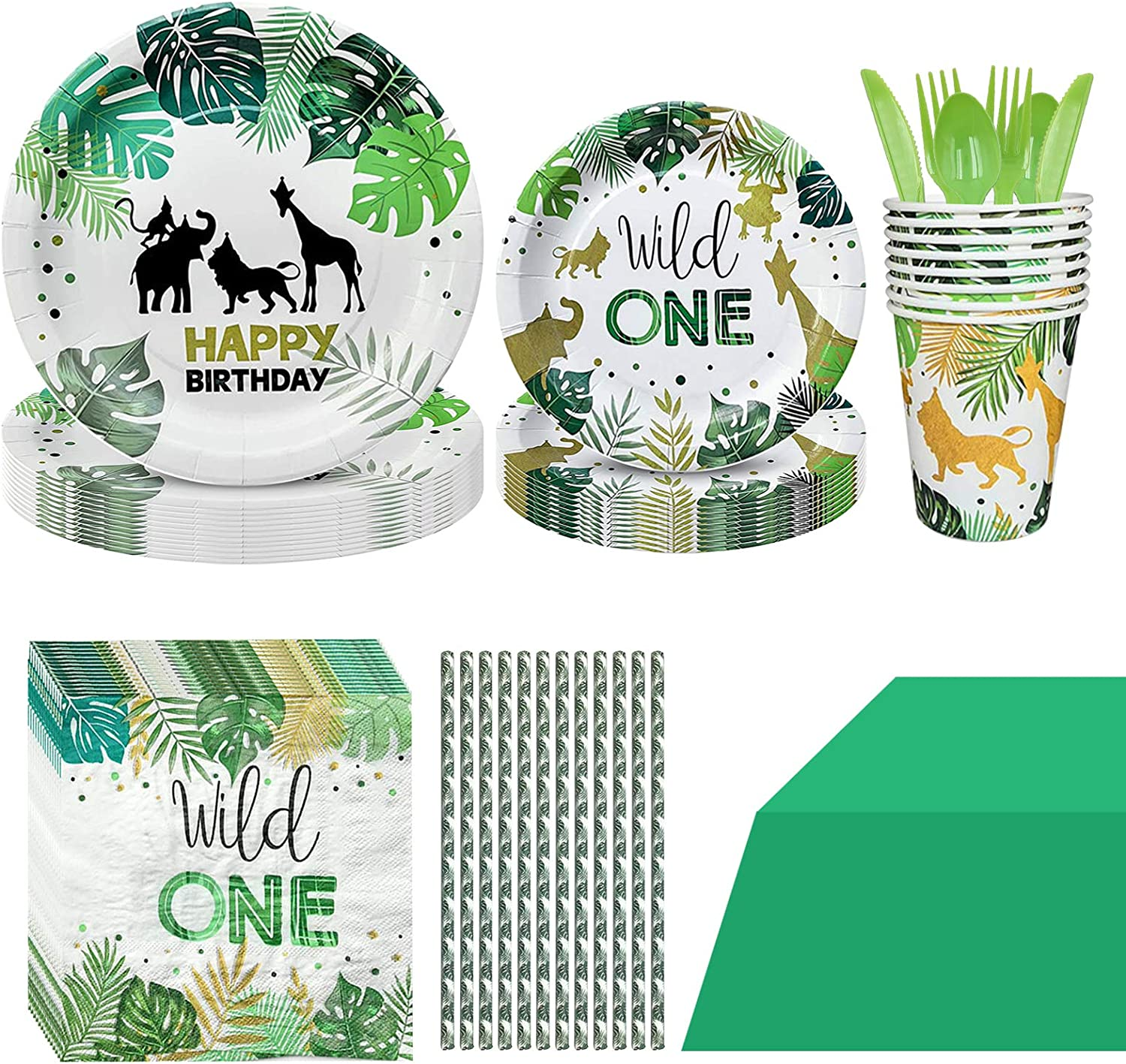 91PCS Wild One Party Supplies, Wild One Disposable Tableware with Wild One Plates Cups Napkins Straws Serves 10 for Wild One Baby Showers First Birthday Decorations