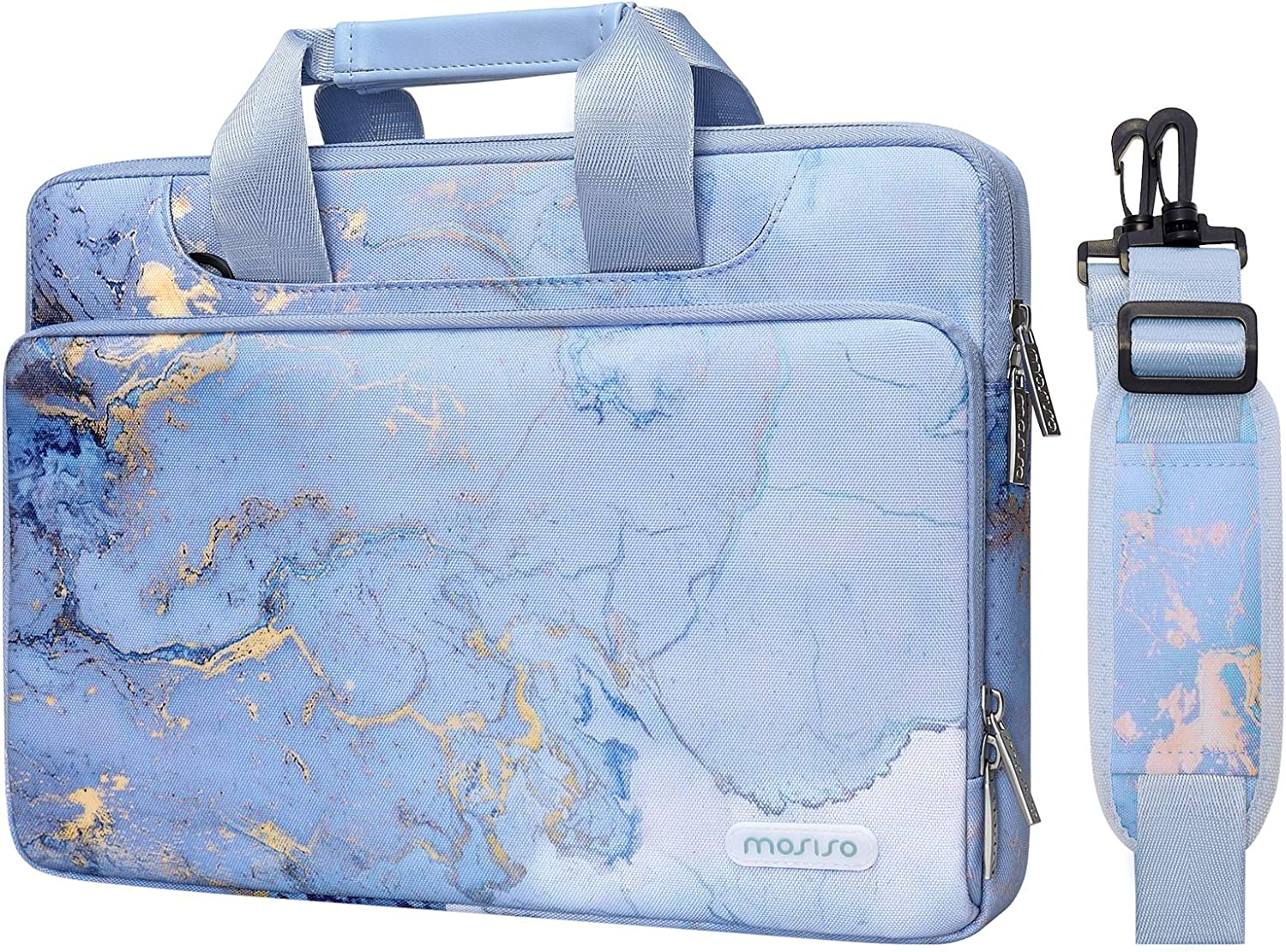 MOSISO 360 Protective Laptop Shoulder Bag Compatible with MacBook Pro/Air 13 inch, 13.5 Surface Laptop, Surface Book, Water Repellent Watercolor Marble Sleeve Case with Trolley Belt, Blue