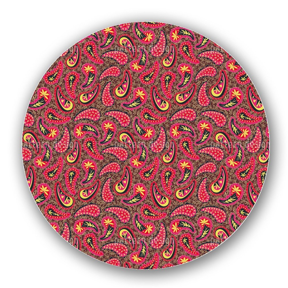 Uneekee Colourful Paisley Lazy Susan: Large, Dark Wooden Turntable Kitchen Storage
