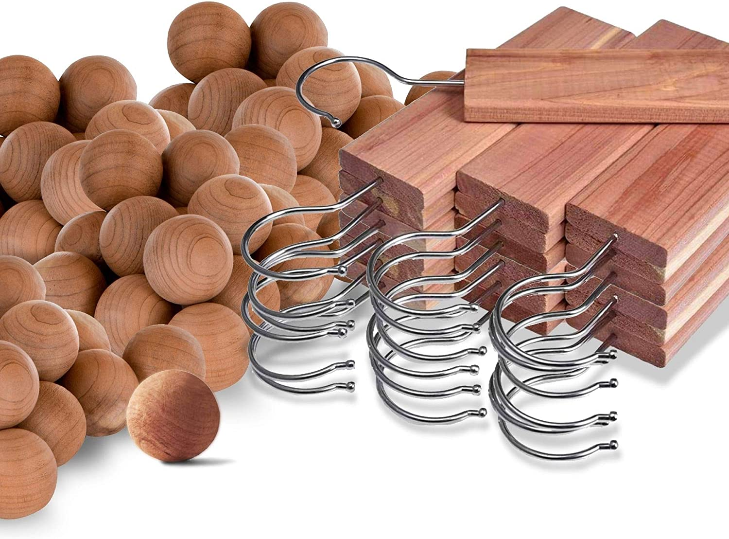 Cedar Home Cedar Blocks for Clothes Storage | Cedar Hang Ups & Cedar Balls | Clothes Protection | 22 Pieces, 12 Cedar Hang Ups & Bonus 10 Cedar Balls