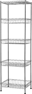"Muscle Rack WB181460 5-Tier Wire Shelving Unit with Baskets, 60"" Height, 18"" Width, 14"" Length"