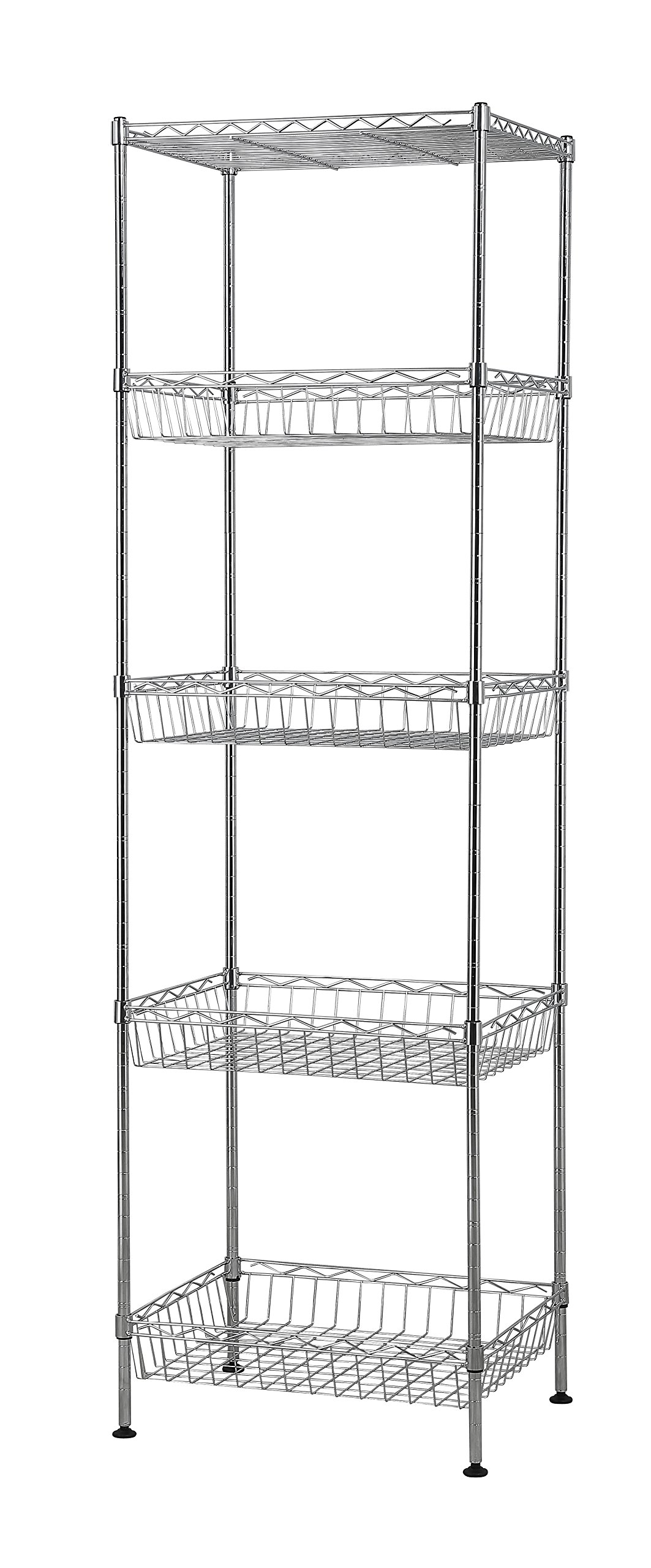 Muscle Rack WB181460 5-Tier Wire Shelving Unit with Baskets, 60'' Height, 18'' Width, 14'' Length by Muscle Rack
