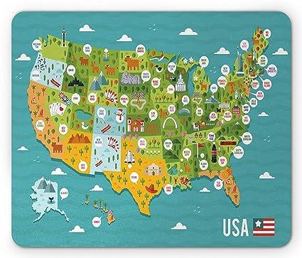 Amazon.com : USA Mouse Pad, Cartoon Style Map of United ...