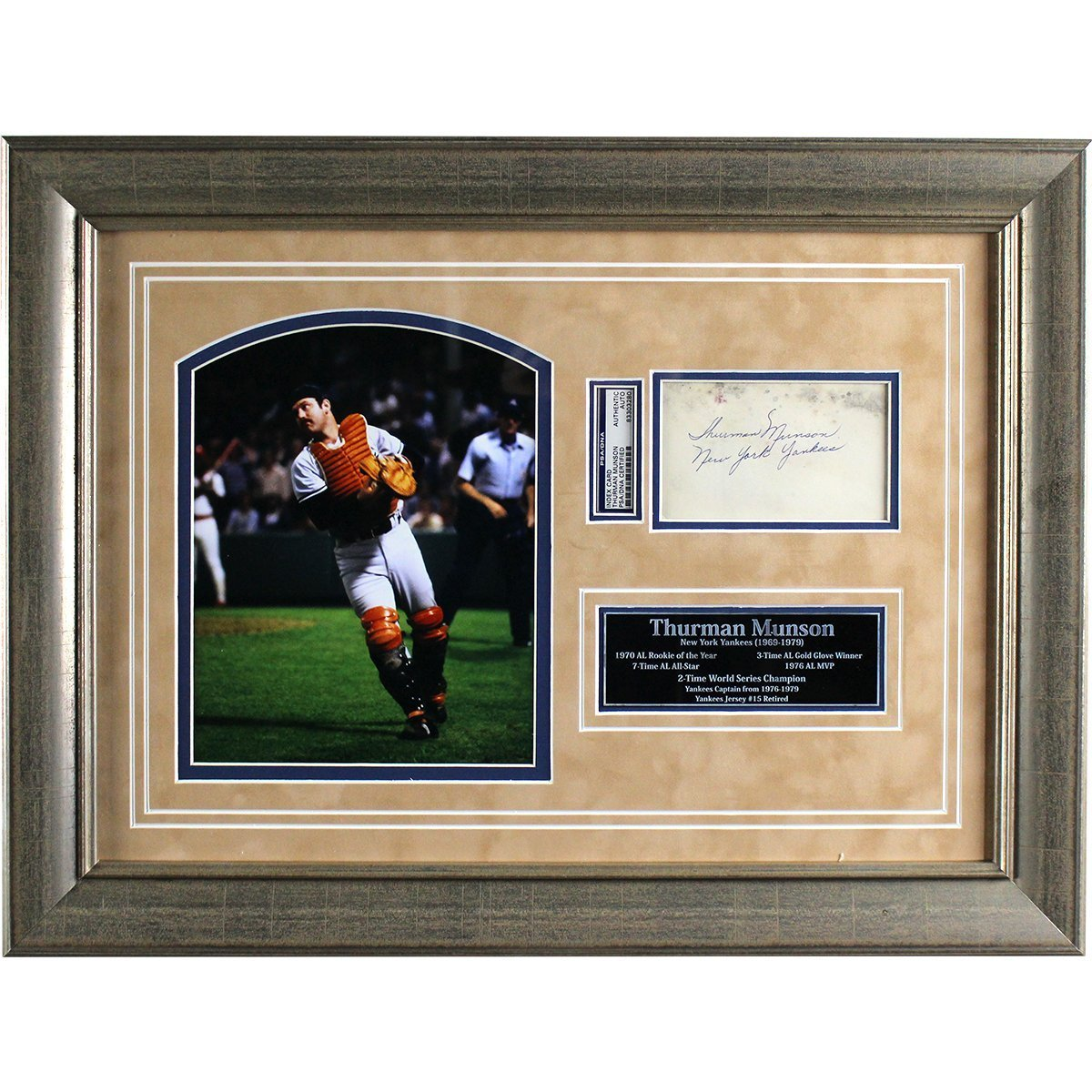 Thurman Munson Framed Collage w/ Signed 3x5 Index Card & New York ...