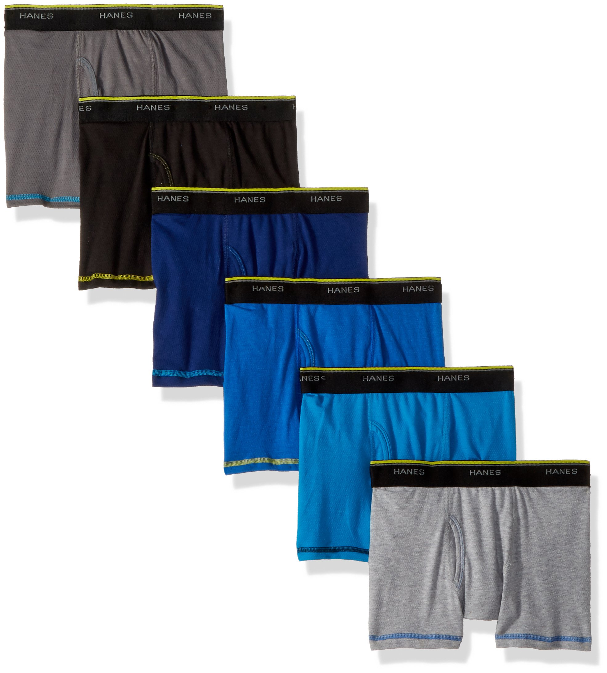 Hanes Boys' Cool Comfort Breathable Mesh Boxer Brief 6-Pack, Assorted Large