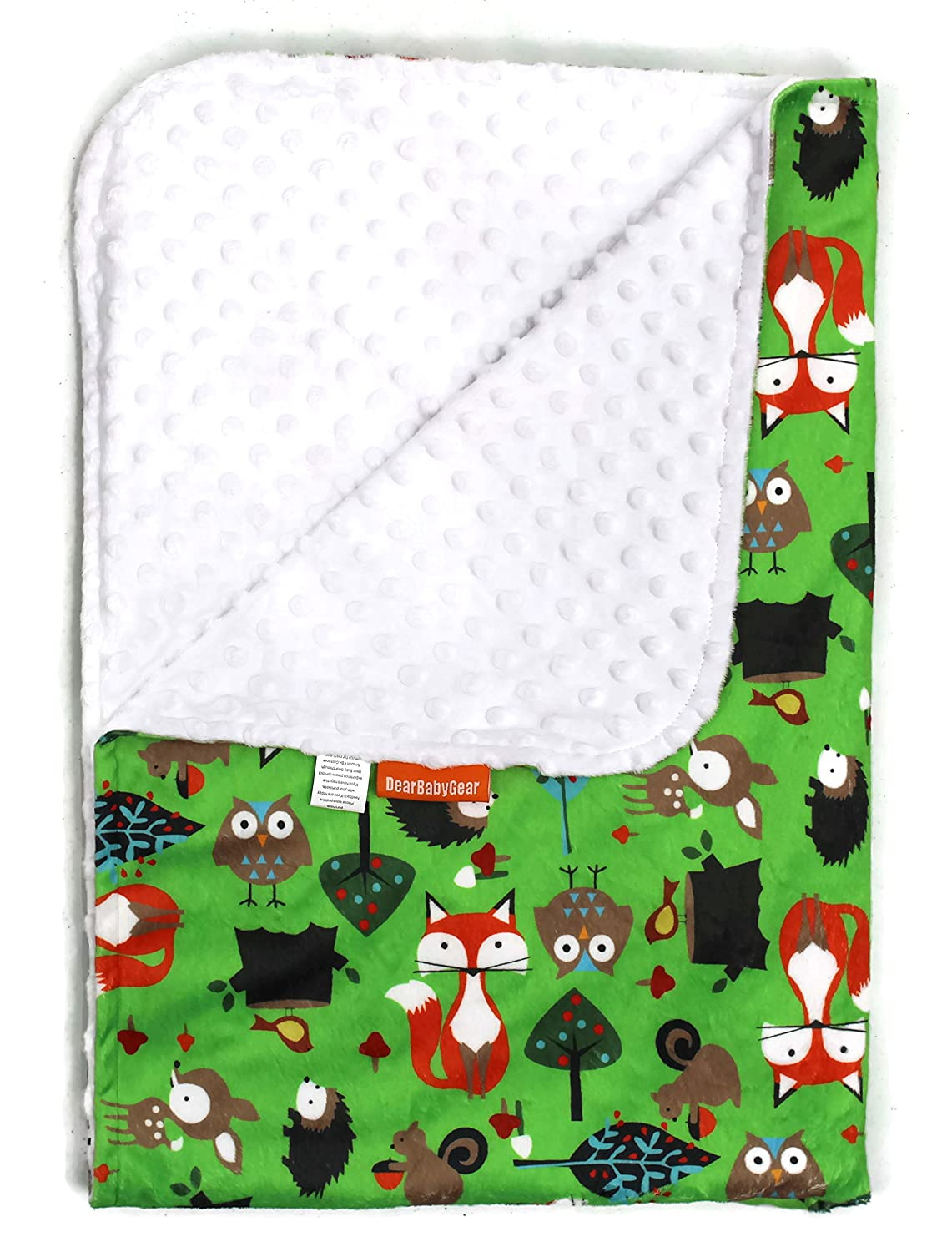 Dear Baby Gear Deluxe Baby Blanket, Foxes, Multi Color / White Minky Dot, 38 Inches by 29 Inches