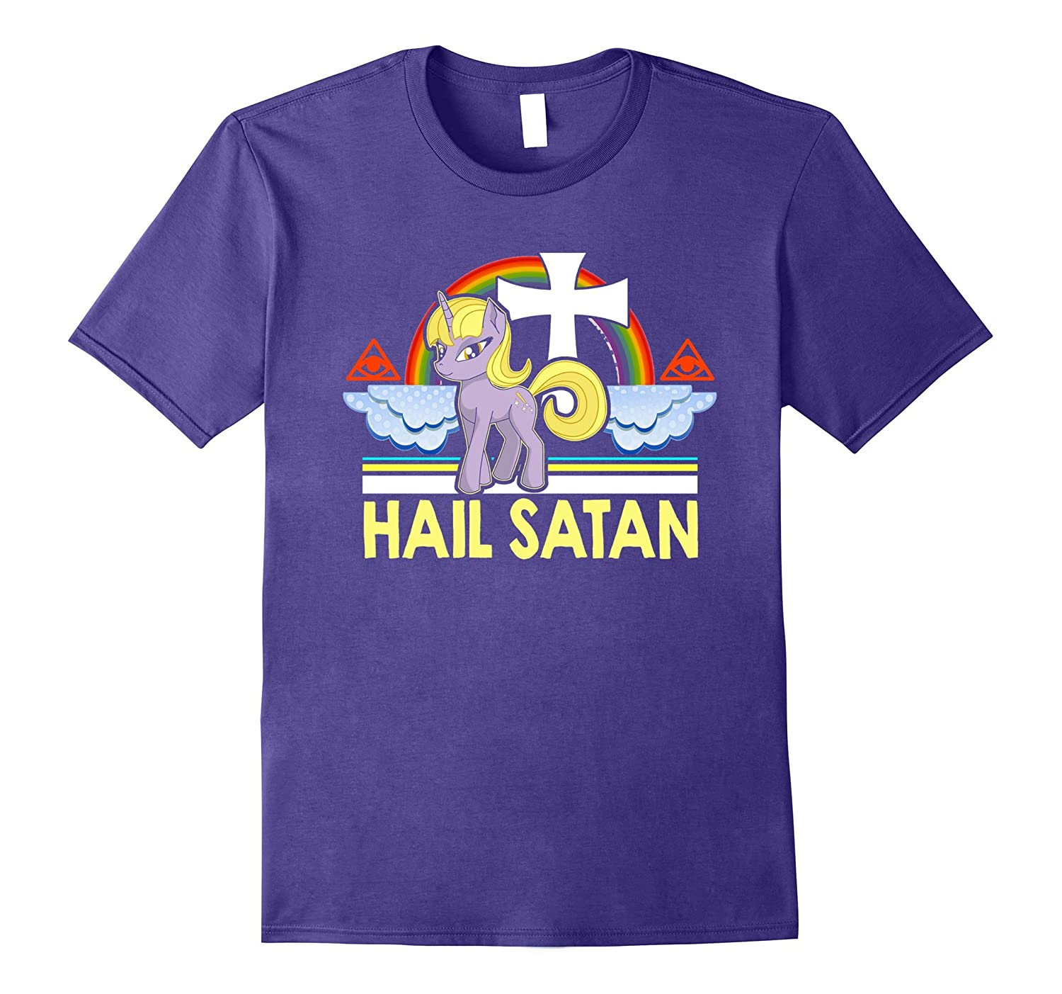 Unicorn hail satan death metal rainbown tshirt-FL