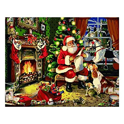 Christmas Paintings For Kids On Canvas.Antiniska Diy Oil Painting Christmas Paint By Numbers For Adults Paint By Number For Kids Beginner In Acrylic Santa Claus Canvas Picture Without