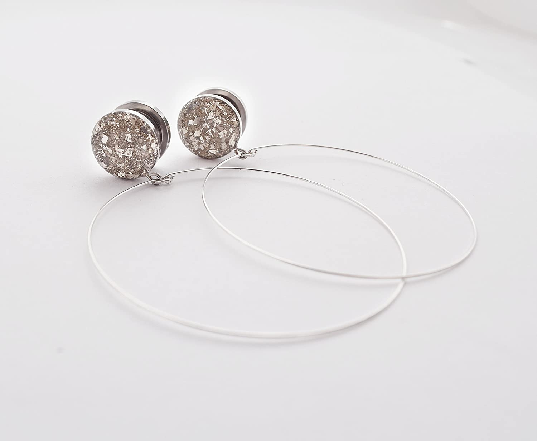 Sizes 16g to 9//16 inch Handmade Silver Crushed Glass Diamond Dangle Plugs
