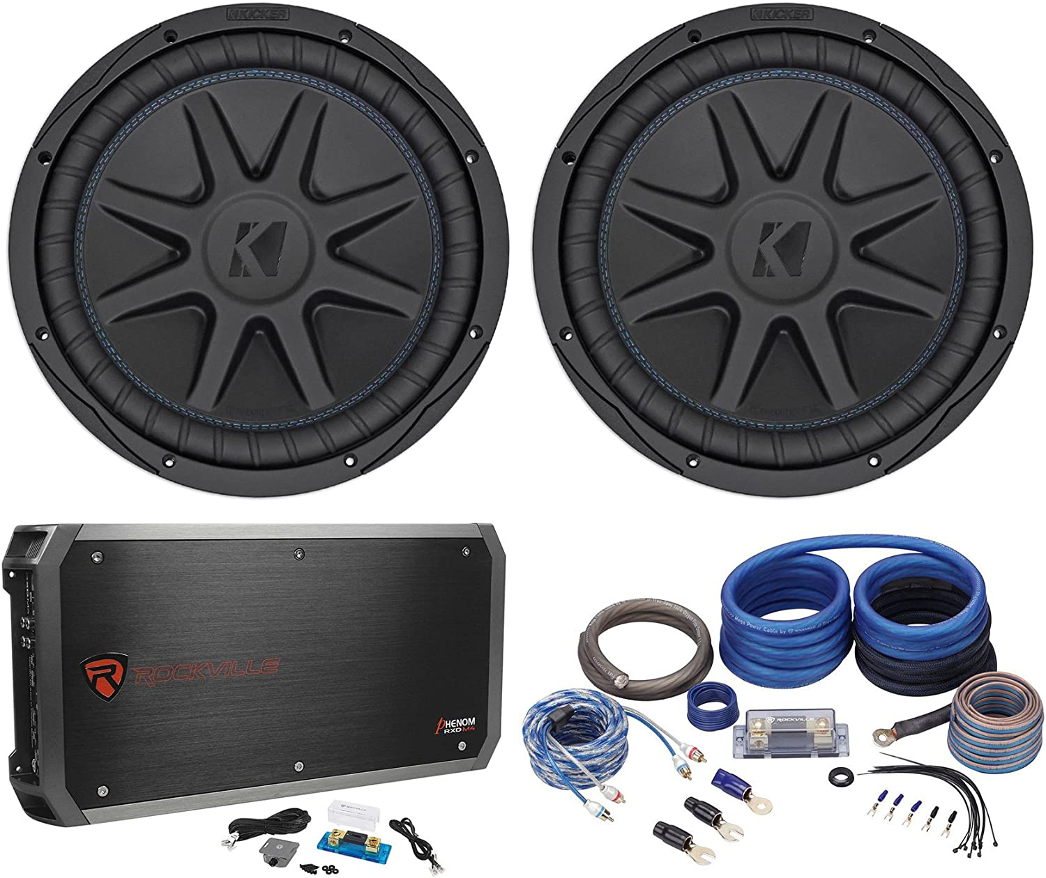 "(2) Kicker 44CVX124 Comp VX CVX 12"" 3000w Car Subwoofers+Mono Amplifier+Amp Kit"