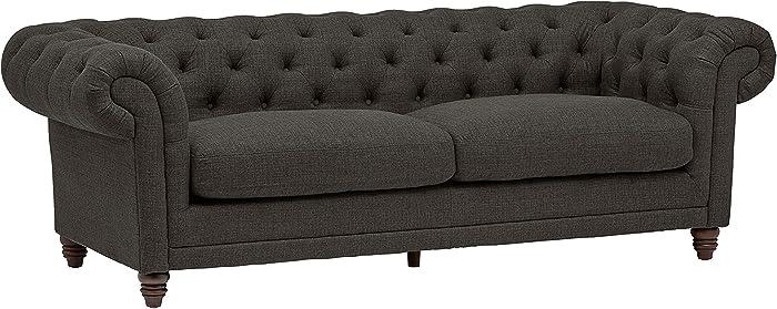 """Stone & Beam Bradbury Chesterfield Classic Sofa, 92.9""""W, Pepper"""