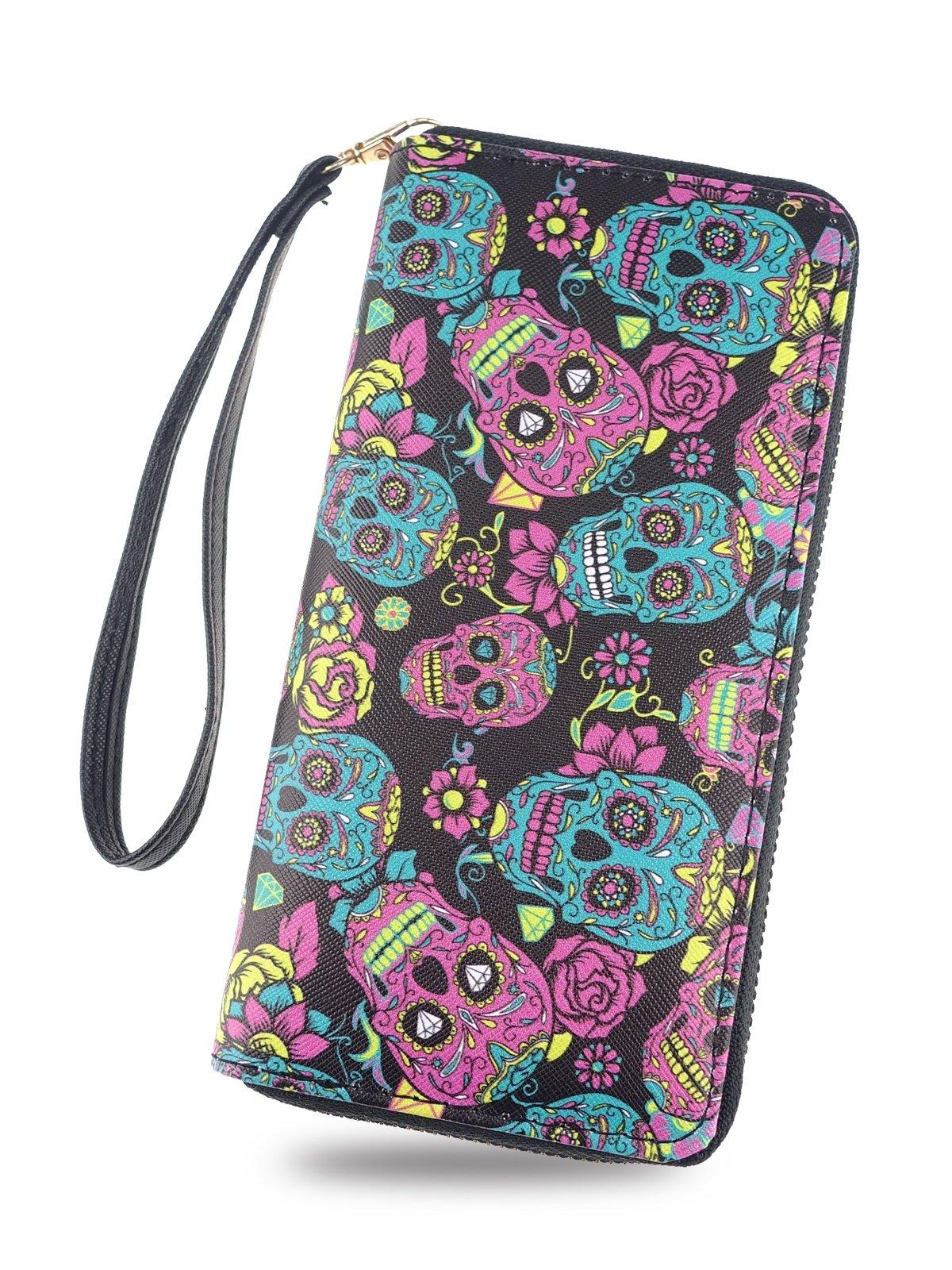 Women Long Zipper Wallet, Cartoon Style Purse Clutch Bag Card Holder for Teen Girls,Removable Wristlet Strap by YIPPLE