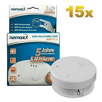 15x Detector de Humo Nemaxx Mini-FL2 Mini Detector de Fuego y Humo Detector con batería de Litio de Acuerdo con la Norma DIN EN 14604: Amazon.es: Bricolaje ...
