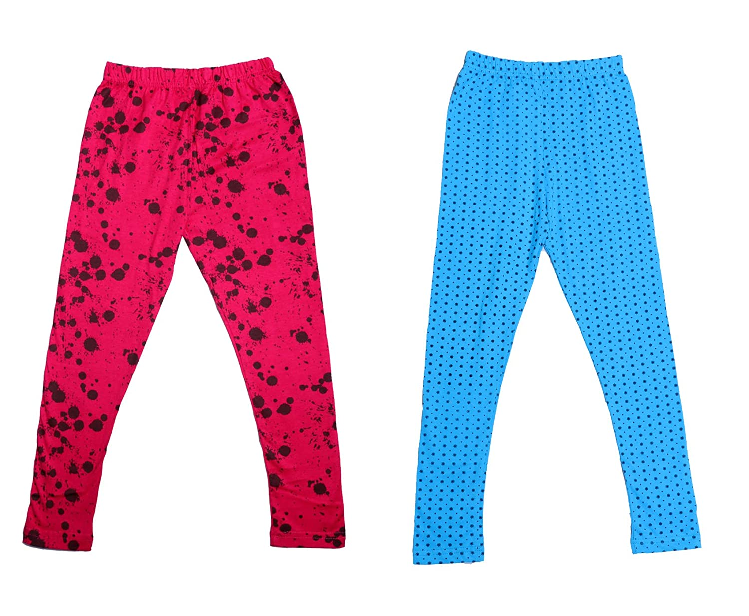 Indistar IndiWeaves Girls Super Soft and Stylish Cotton Printed Legging Pack Of 2