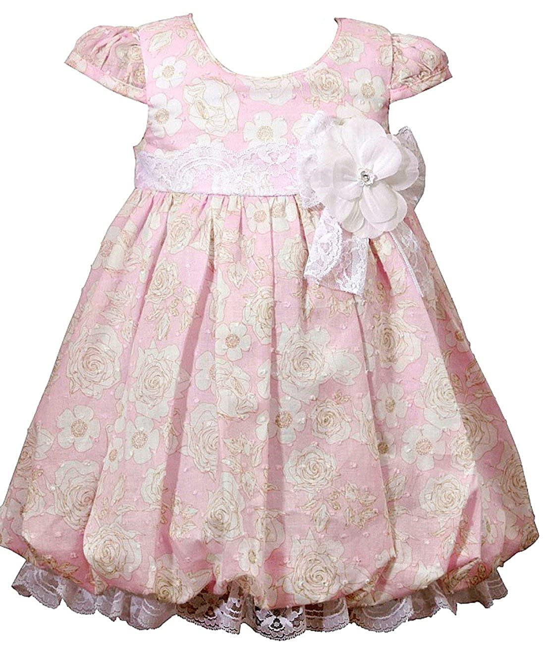 14c366cec68d Amazon.com  Bonnie Jean Baby Girls Pink Floral Vintage Inspired Dress 3-6  months  Clothing
