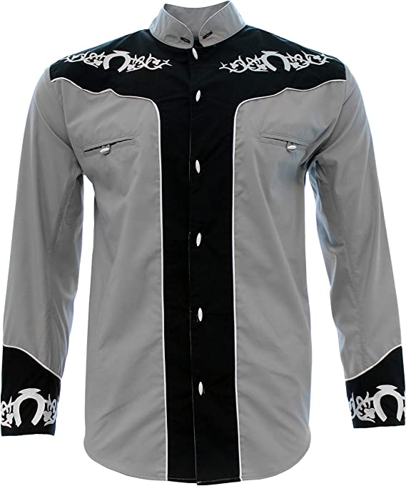 El General Mens Western Style Embroidered Charro Button Up Long Sleeve Shirt
