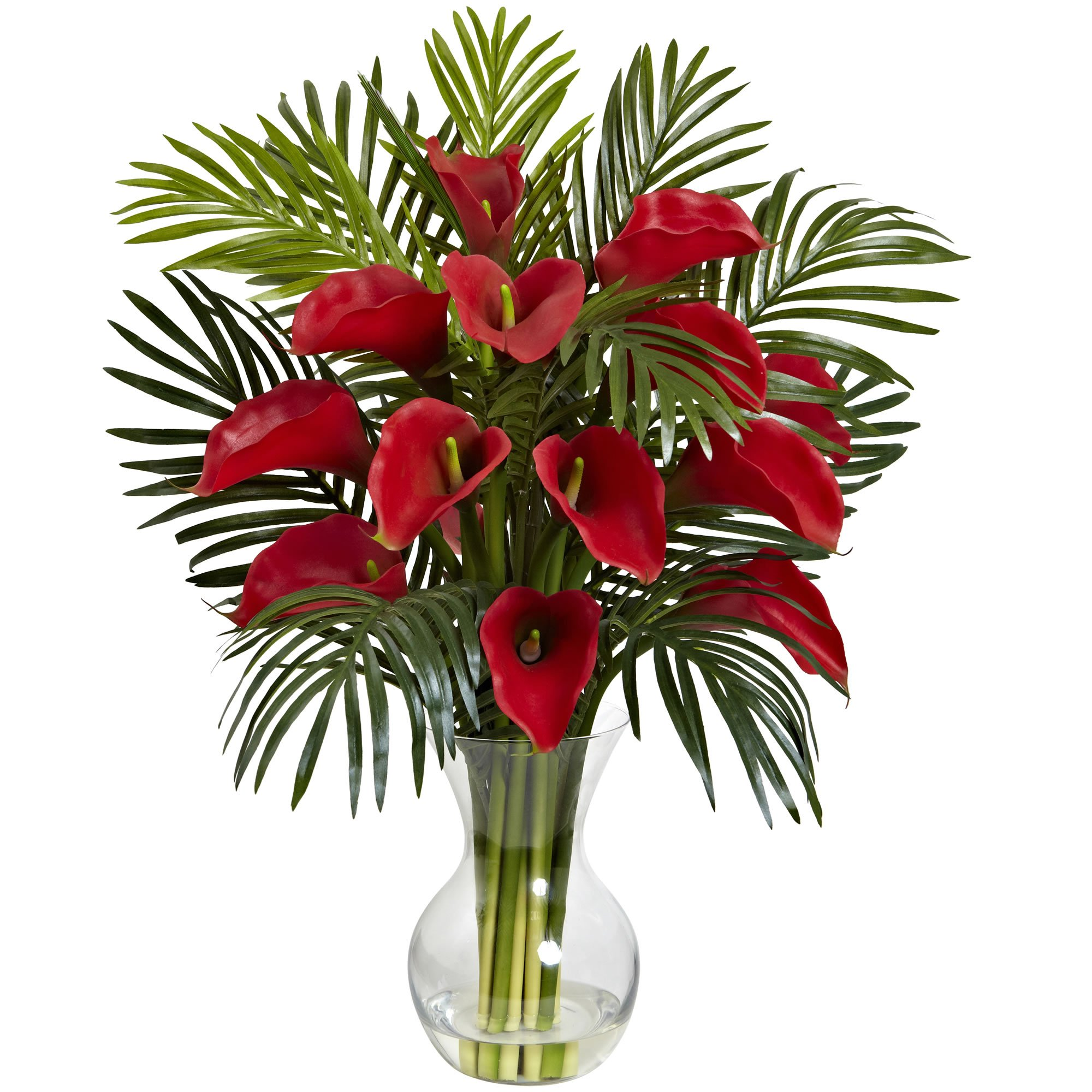Nearly Natural Calla Lily & Areca Palm Silk Flower Arrangement by Nearly Natural