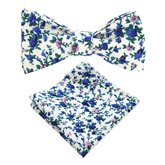 Jemygins Cotton Floral Self Tie Bow Tie And Pocket Square Set For Men by Jemygins
