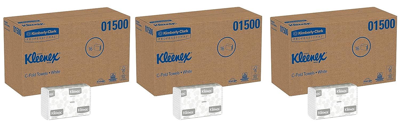 Kleenex Cフォールド紙タオル01500、吸収性、ホワイト、16パック/ケース、150 C-foldタオル/パック、400台タオル/ケース 3 CASES B07B9K3X23  3 CASES
