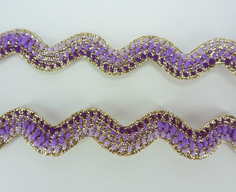 Violet Gold Metallic Ric Rac Multi Color Trim Tape Ribbon Rick Rack Zig Zag Lace Scrapbooking Supplies DIYcraft