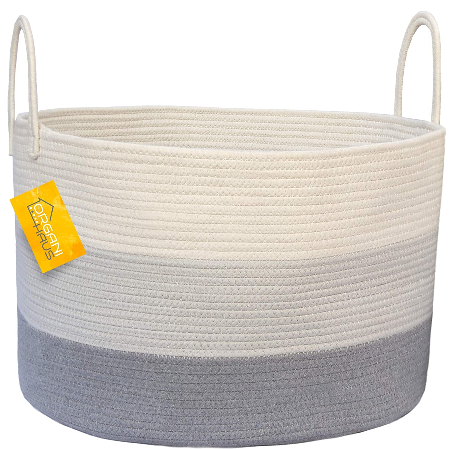 "OrganiHaus XXL Cotton Rope Basket | Wide 20"" x 13.3"" Blanket Storage Basket with Long Handles 