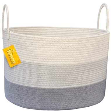 OrganiHaus XXL Cotton Rope Basket | Wide 20  x 13.3  Blanket Storage Basket with Long Handles | Decorative Clothes Hamper Basket | Extra Large Baskets for Blankets Pillows or Laundry (Gray)