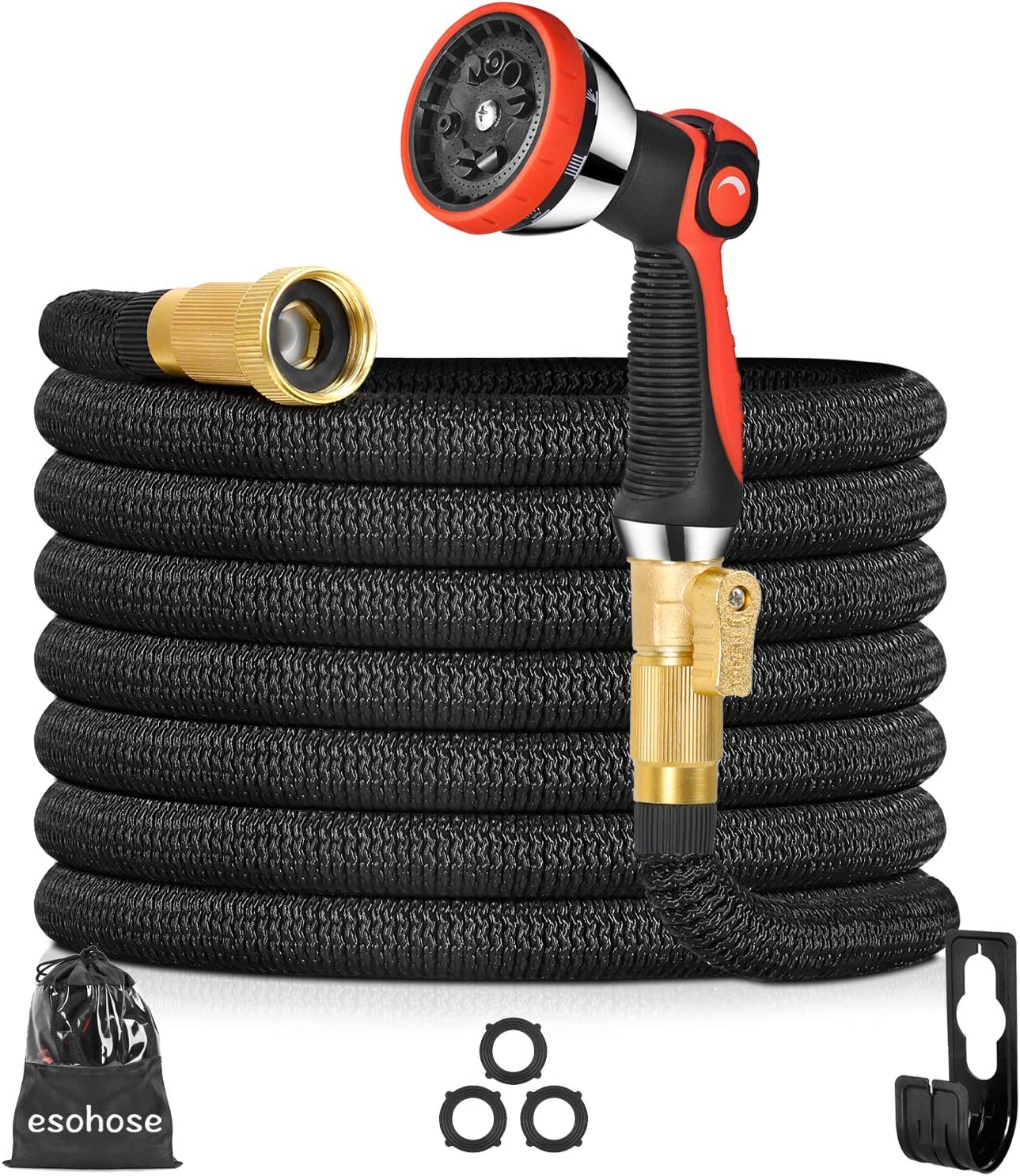 Expandable Garden Hose 50FT, Water Hose for Lawns and Pet Care, 50 Foot Collapsible Hose, Outdoor Hoses That Shrink, Hoses for Yard (50)