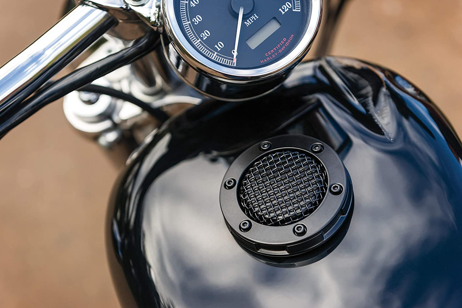 Kuryakyn 6549 Mesh Style Low-Profile Vented Fuel Tank/Gas Cap with Right-Hand Threads for 1982-2019 Harley-Davidson Motorcycles with Screw Tanks, Satin Black