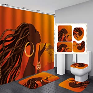"Fashion&Man 16PCS/Set African Woman Shower Curtain Fabric Cloth Polyester Bath Curtain Waterproof Bathtub Curtains, Bathroom Rugs Bath Mat Afro Girl Egyptian Lady Bathroom Decor, 72""x72"", Style 8"