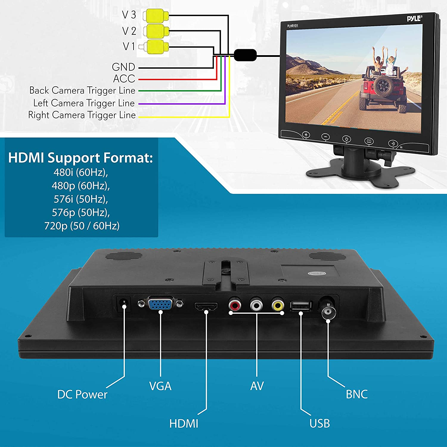 10-Inch Security Camera Monitor Screen Pyle PLHR101 1080p HD Widescreen Video Monitor Display w//HDMI RCA BNC VGA Input for Computer DVR FPV CCTV Cam Home Office Surveillance Raspberry Pi Gaming