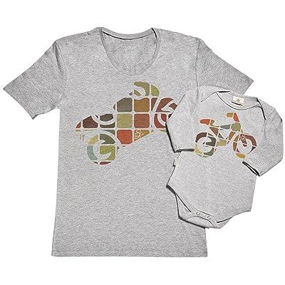 Superbike & Pedal Bike Ensemble de pour Père et bébé - dans une boîte cadeau - Père t-shirt et body bébé ensemble