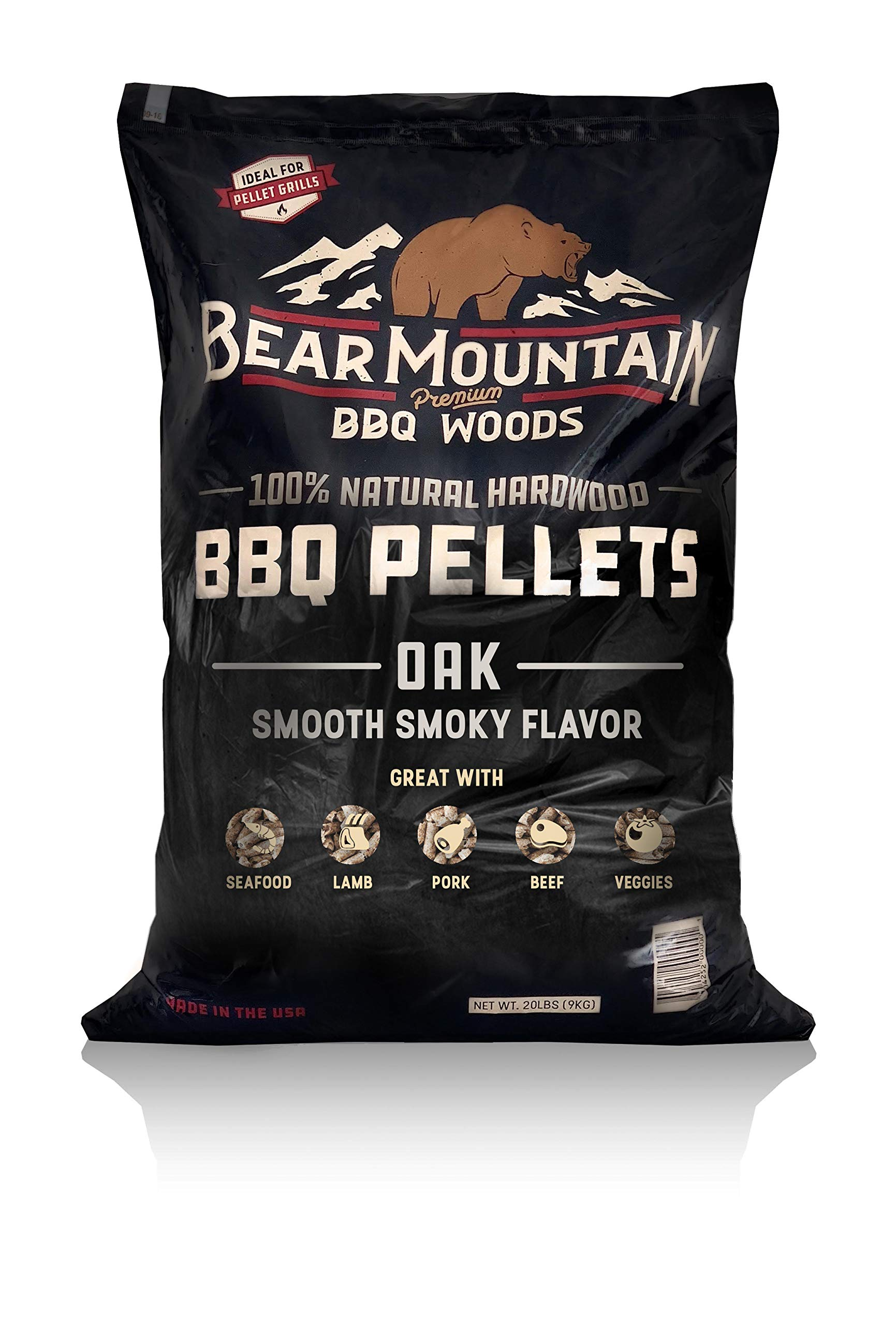 Bear Mountain BBQ 100% All-Natural Hardwood Pellets - Oak (20 lb. Bag) Perfect for Pellet Smokers, or Any Outdoor Grill   Rich, Smoky Wood-Fired Flavor