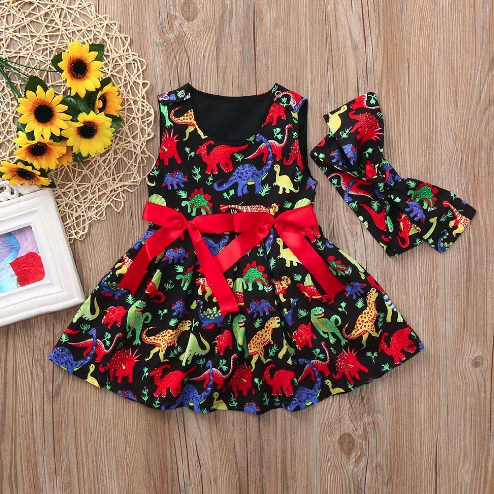 Veepola Toddler Kid Baby Girls Cartoon Dinosaur Sleeveless Dress+Headband Clothes Outfits