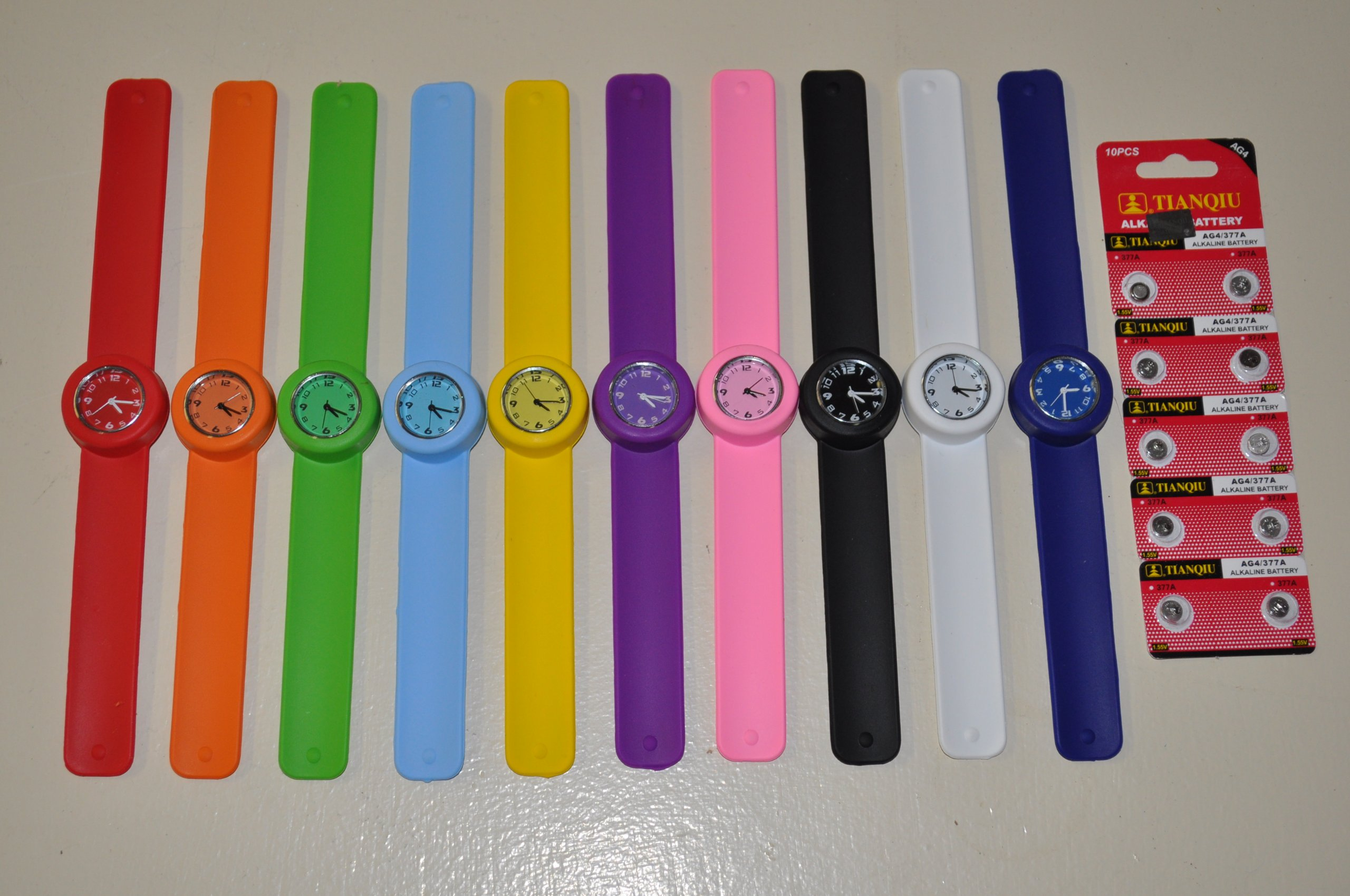 10 Kids/Ladies Slap Watch set Wholesale Lot - Full face with all 12 numbers Party Favor idea!