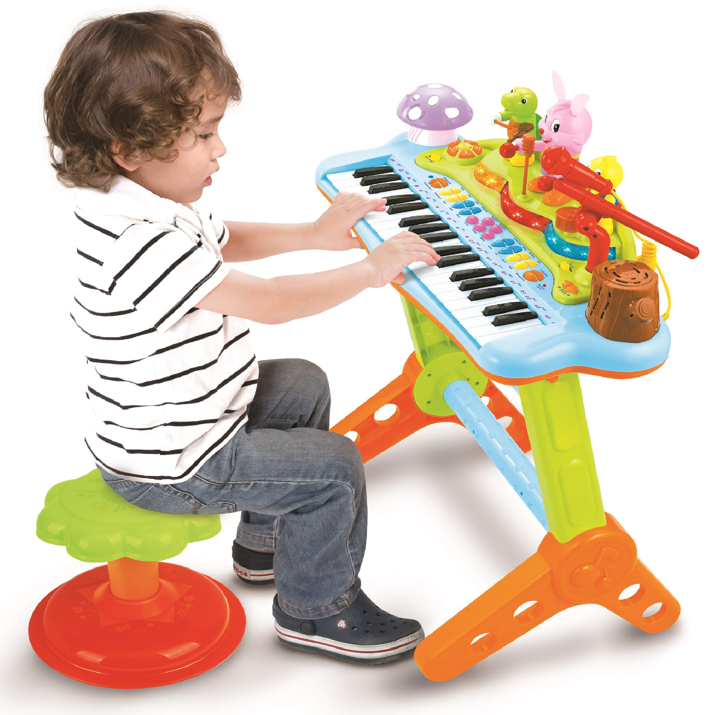 Prextex Toy Piano Keyboard for Kids with Real Working Microphone Electronic Musical Instrument Piano Toy Keyboard with Record and Playback, Synthesizer and Stool by Prextex